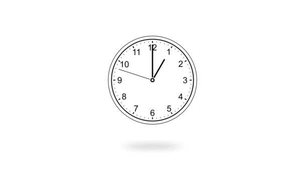 Animace černých hodin odpočítávání 12 hodin denně rychlá rychlost na bílém pozadí, plochý styl