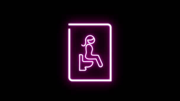 Neon pink light glowing blinking of toilet sign. Woman sitting with water closet symbol on black background