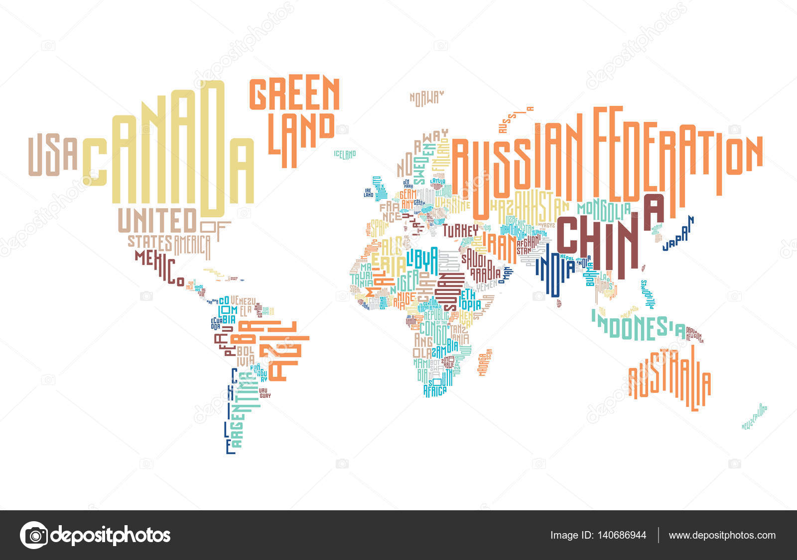 World map made of typographic country names — Stock Vector ...