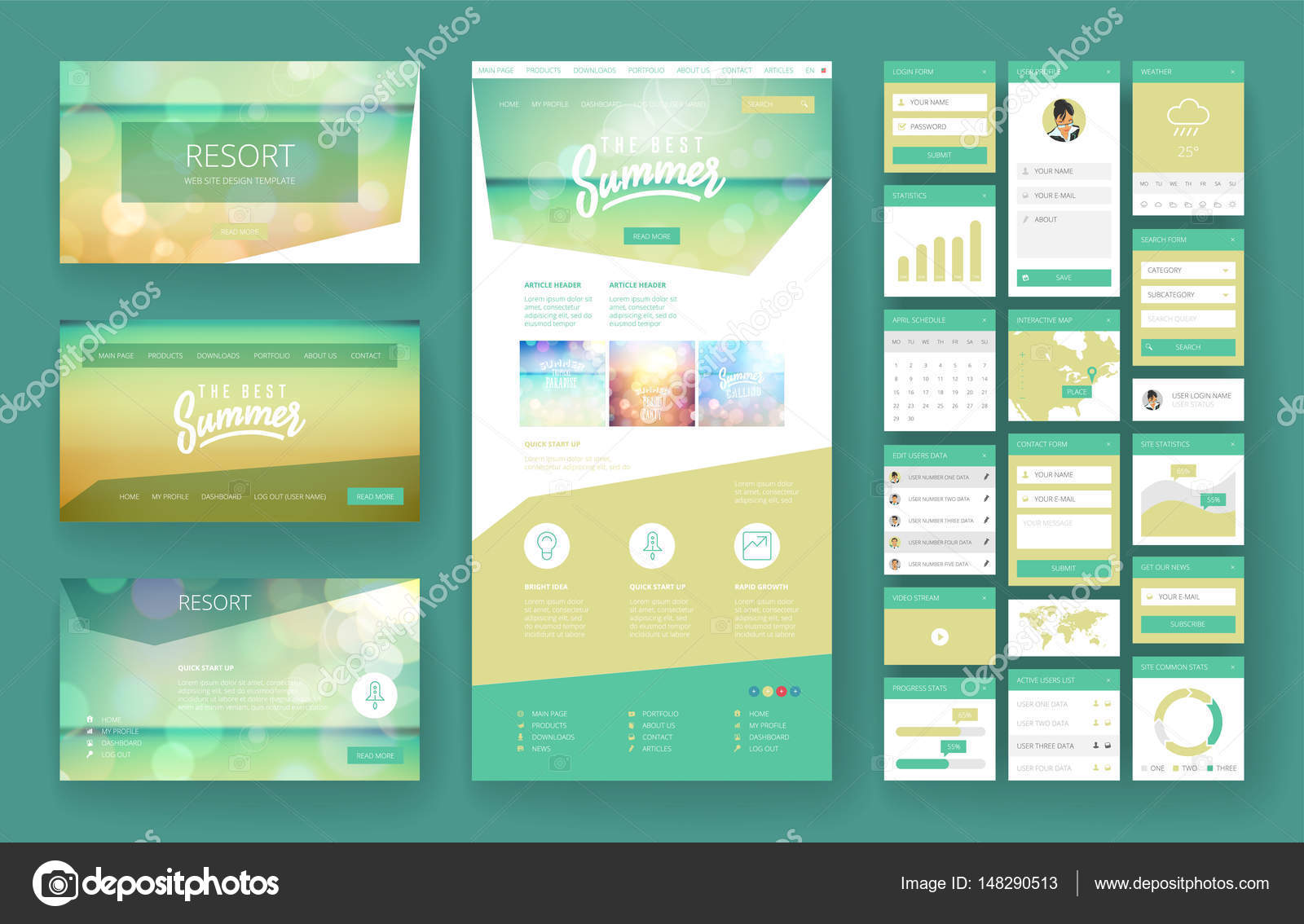 Website Design Vorlage und Interface-Elemente — Stockvektor ...