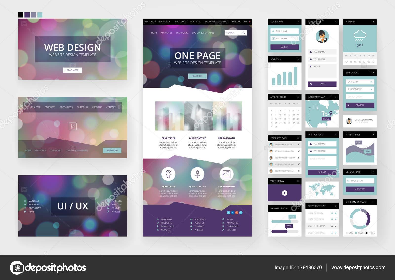 Prvky rozhraní a šablony návrhu webové stránky — Stock Vektor ... e41431a910d