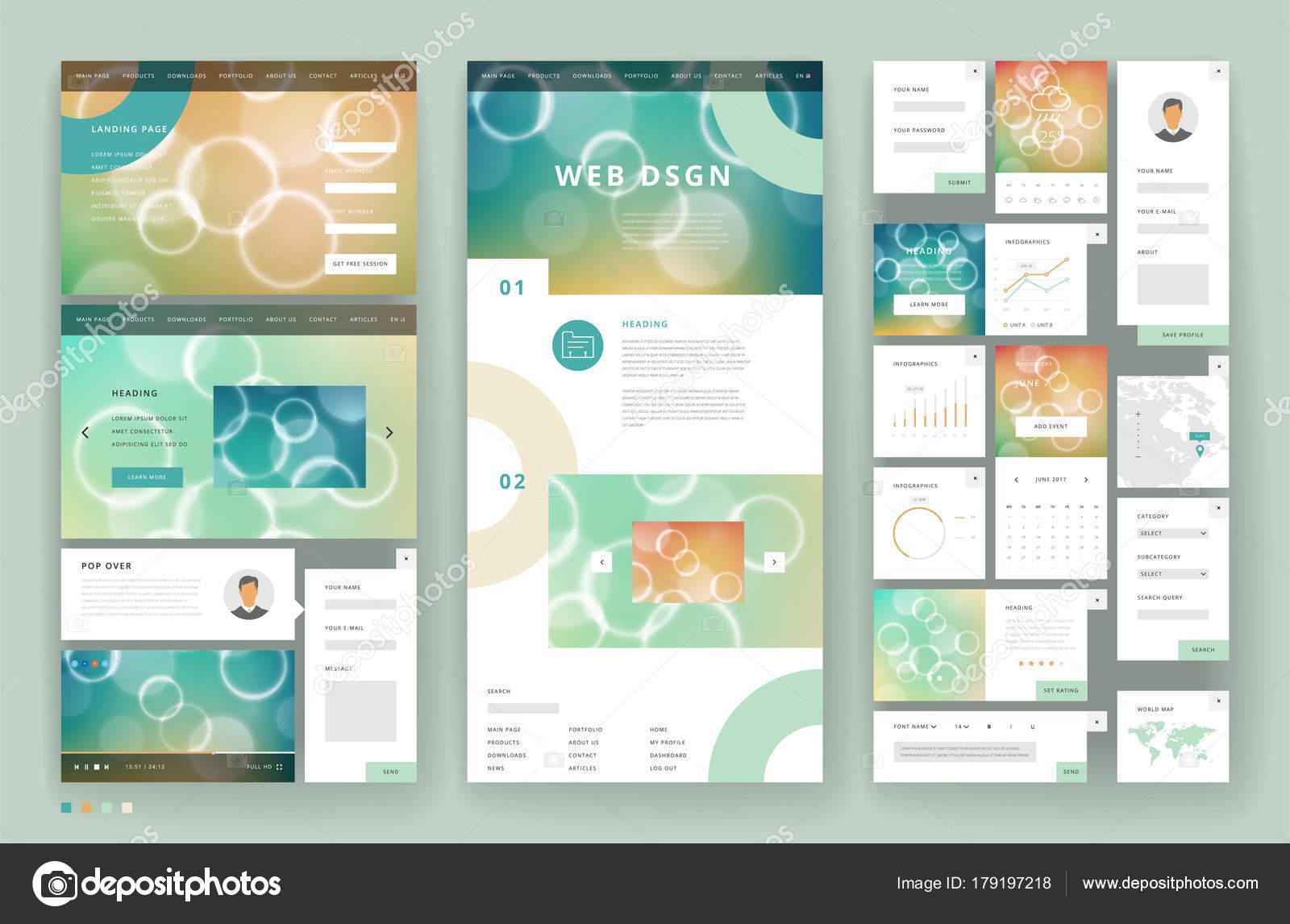 Website-Vorlage-Design mit Elementen der Benutzeroberfläche ...