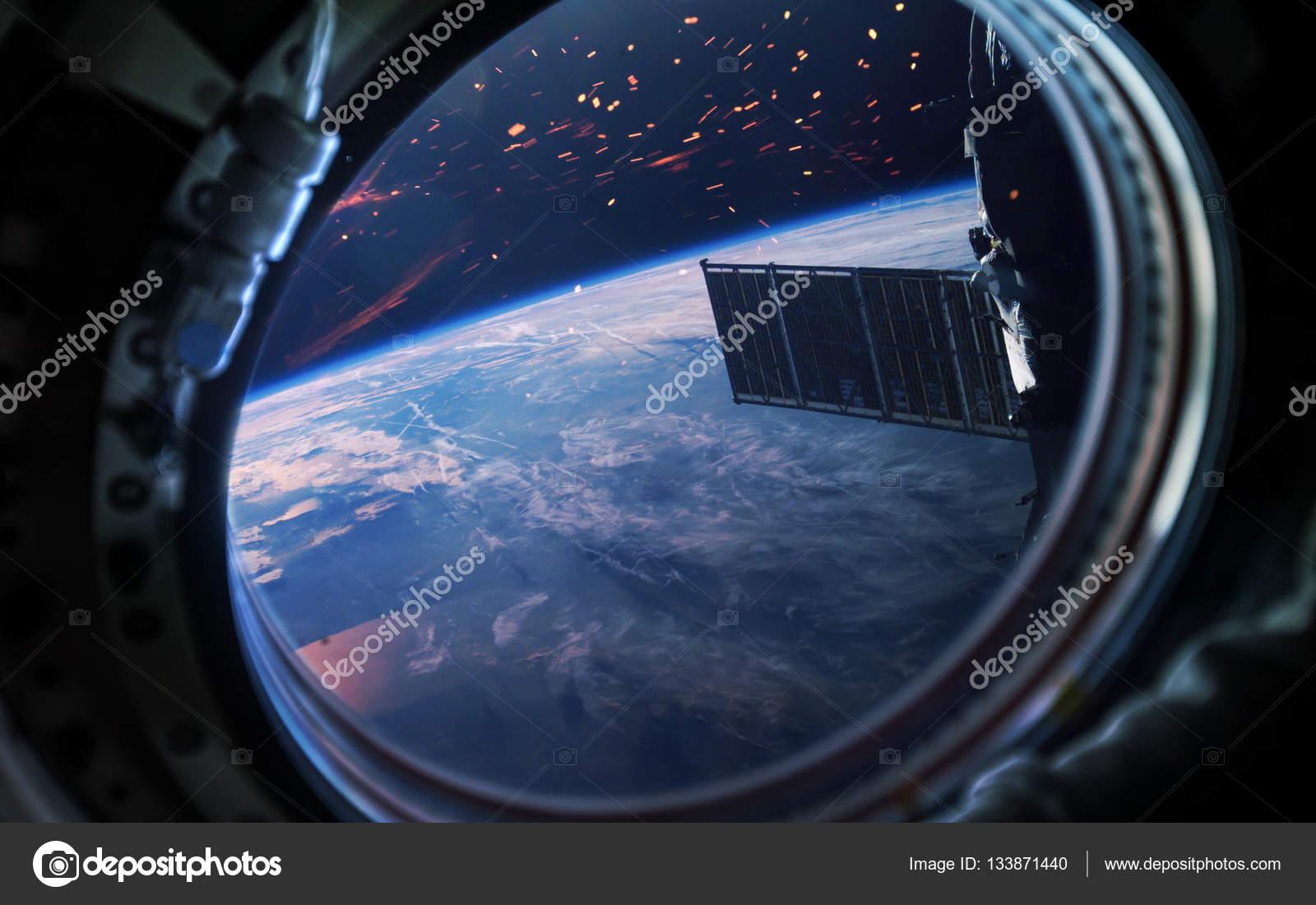 Ziemia Planeta W Statek Kosmiczny Okno Iluminator Elementy Tego
