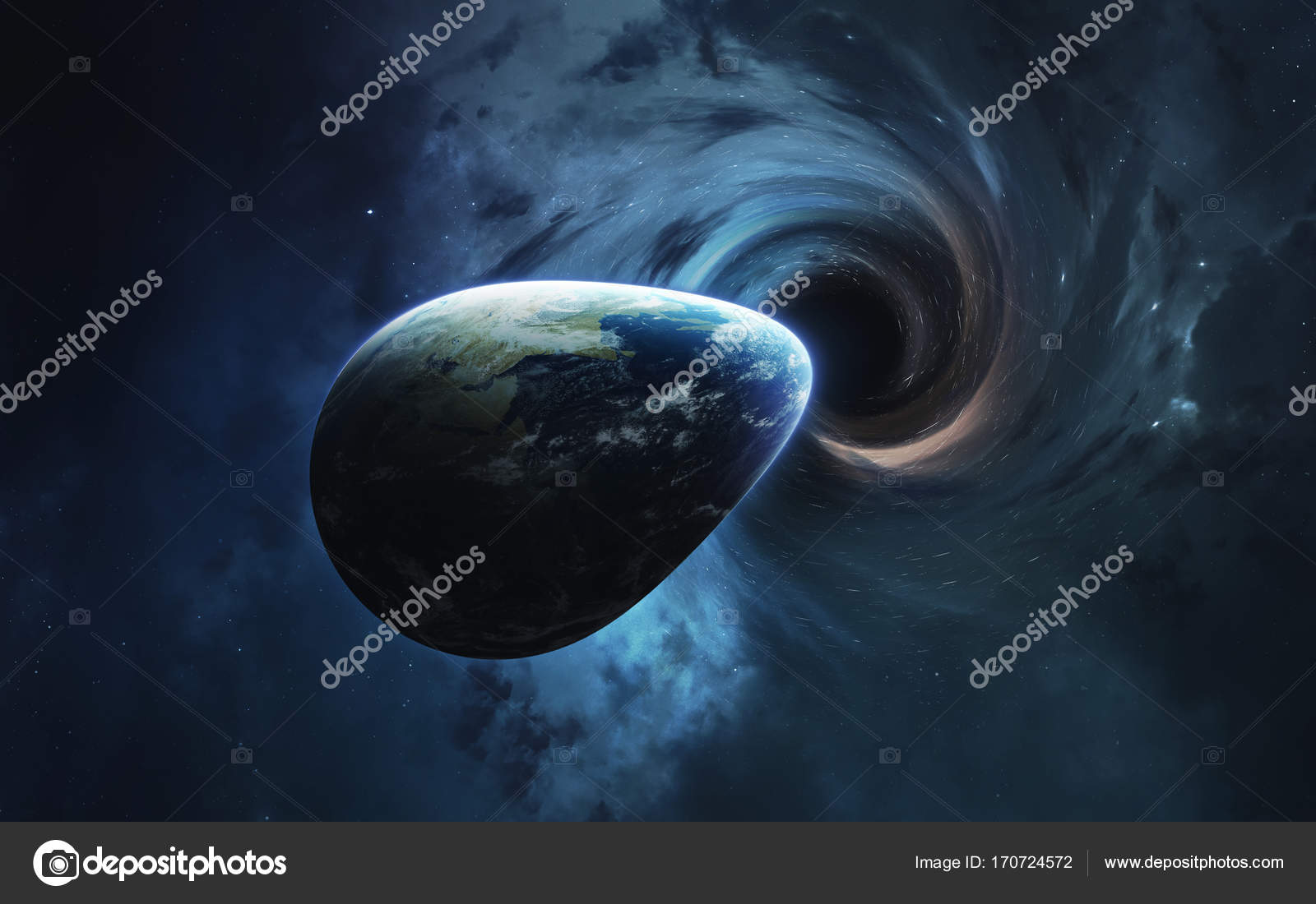 black hole and earth. abstract space wallpaper. universe filled with