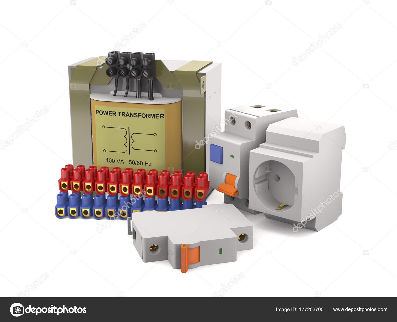 Transformator, elektrische Schalter, Anschluss-pads (3d illu ...