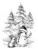 Weihnachten lustige Szene, Winterlandschaft