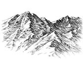 Mountains sketch. Mountains ranges hand drawing