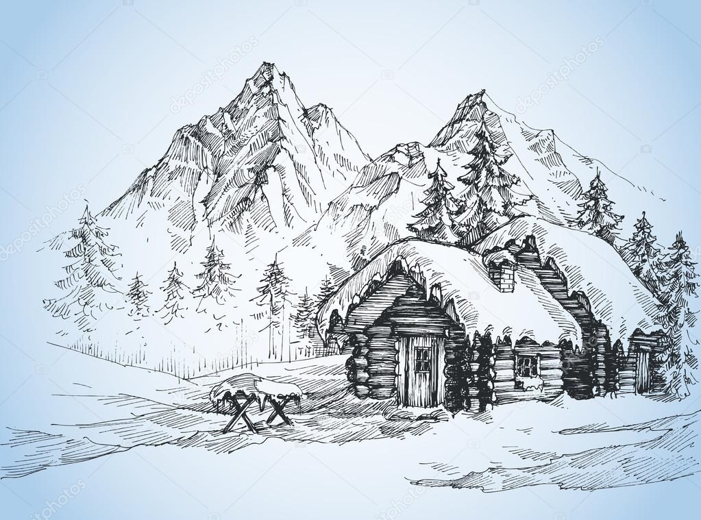Weihnachten Hintergrund, Haus in der Schneelandschaft — Stockvektor ...