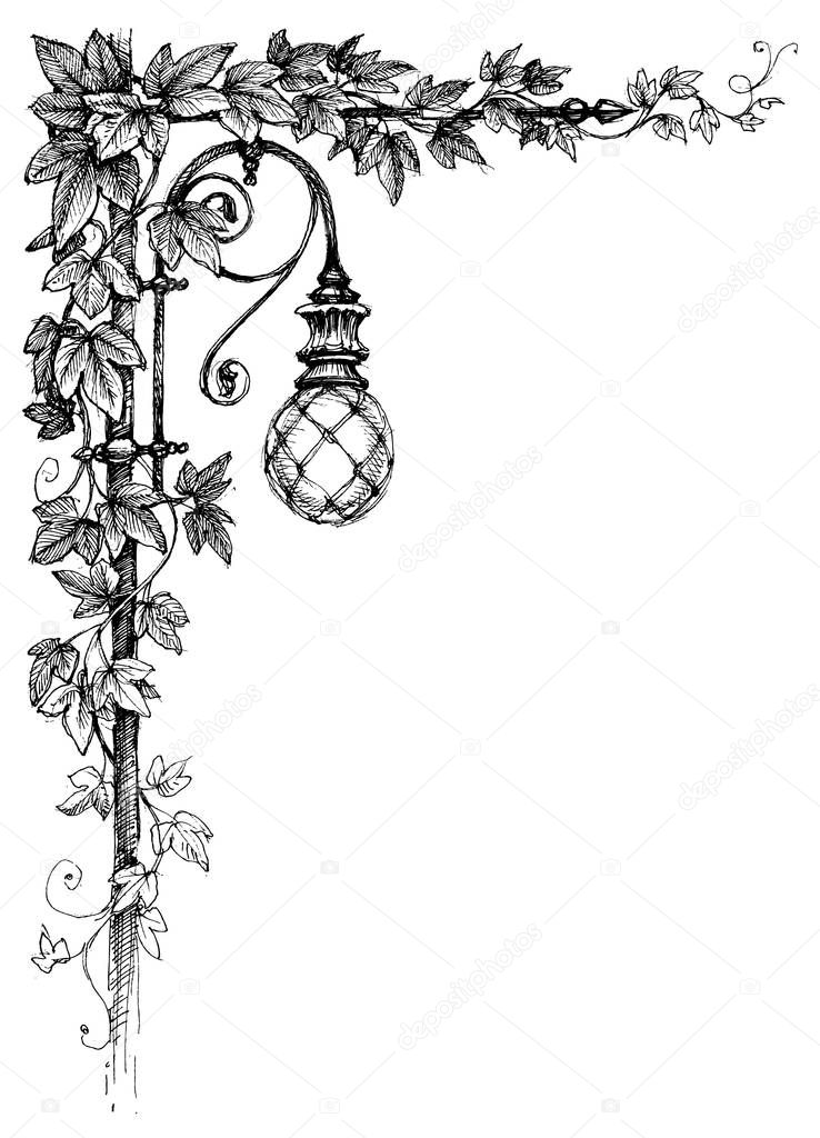 Ivy corner decoration and street lamp