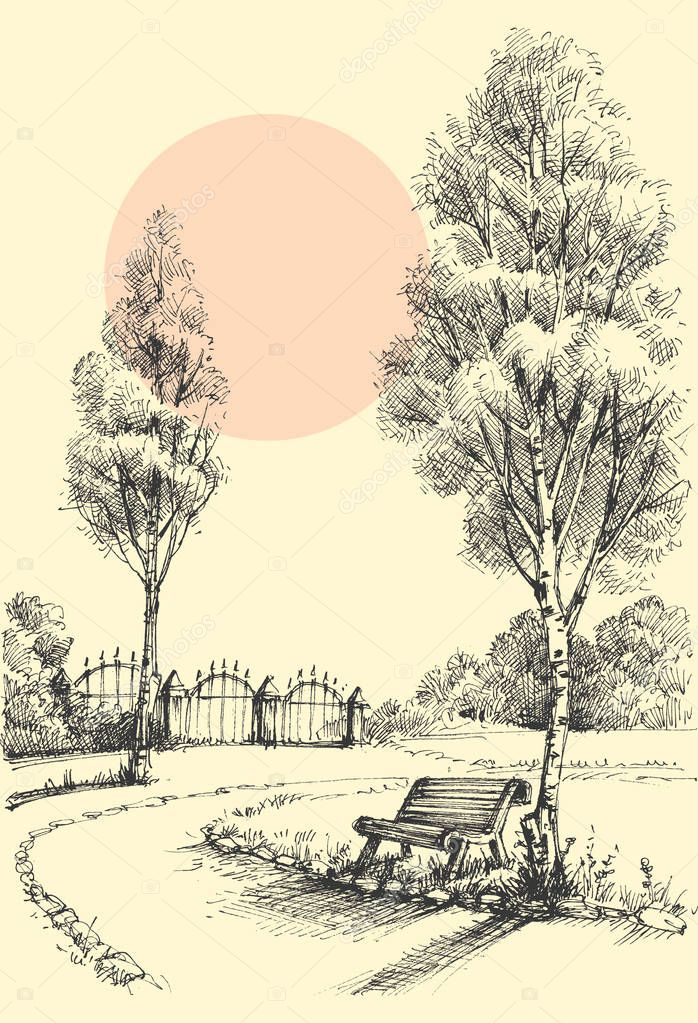Garden artistic drawing, an alley in the park
