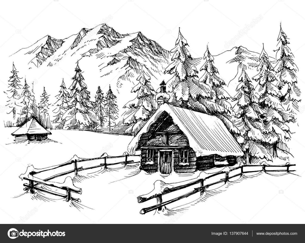 Hut In Woods Coloring Page