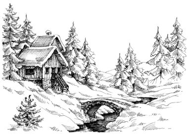 Mountain cabin in the woods
