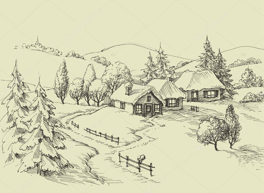 Small village idyllic landscape