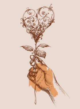 Offering love concept, hand giving a rose in shape of a heart