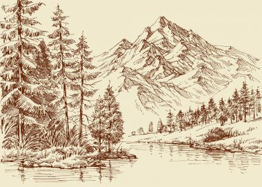 Alpine landscape, river and pine forest sketch