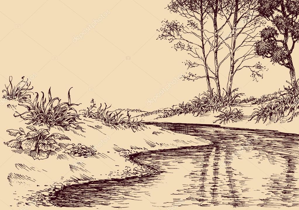landschap tekenen. stroom van de rivier en vegetatie — stockvector