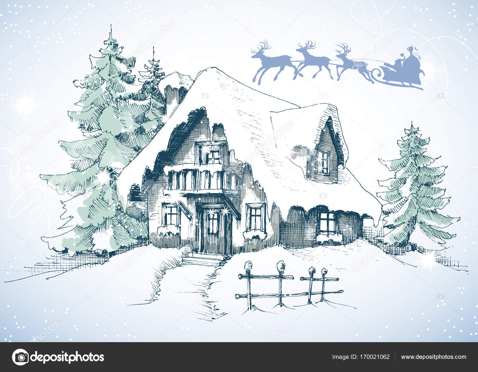 Weihnachtskarte zeichnen — Stockvektor © Danussa #170021062