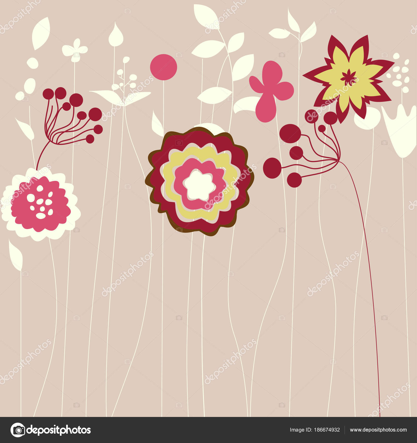Abstract Flowers Greeting Card Stock Vector Danussa 186674932