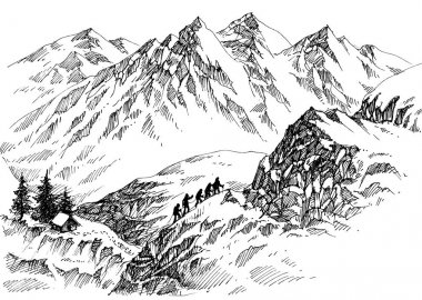 Mountain climbers in high lands drawing