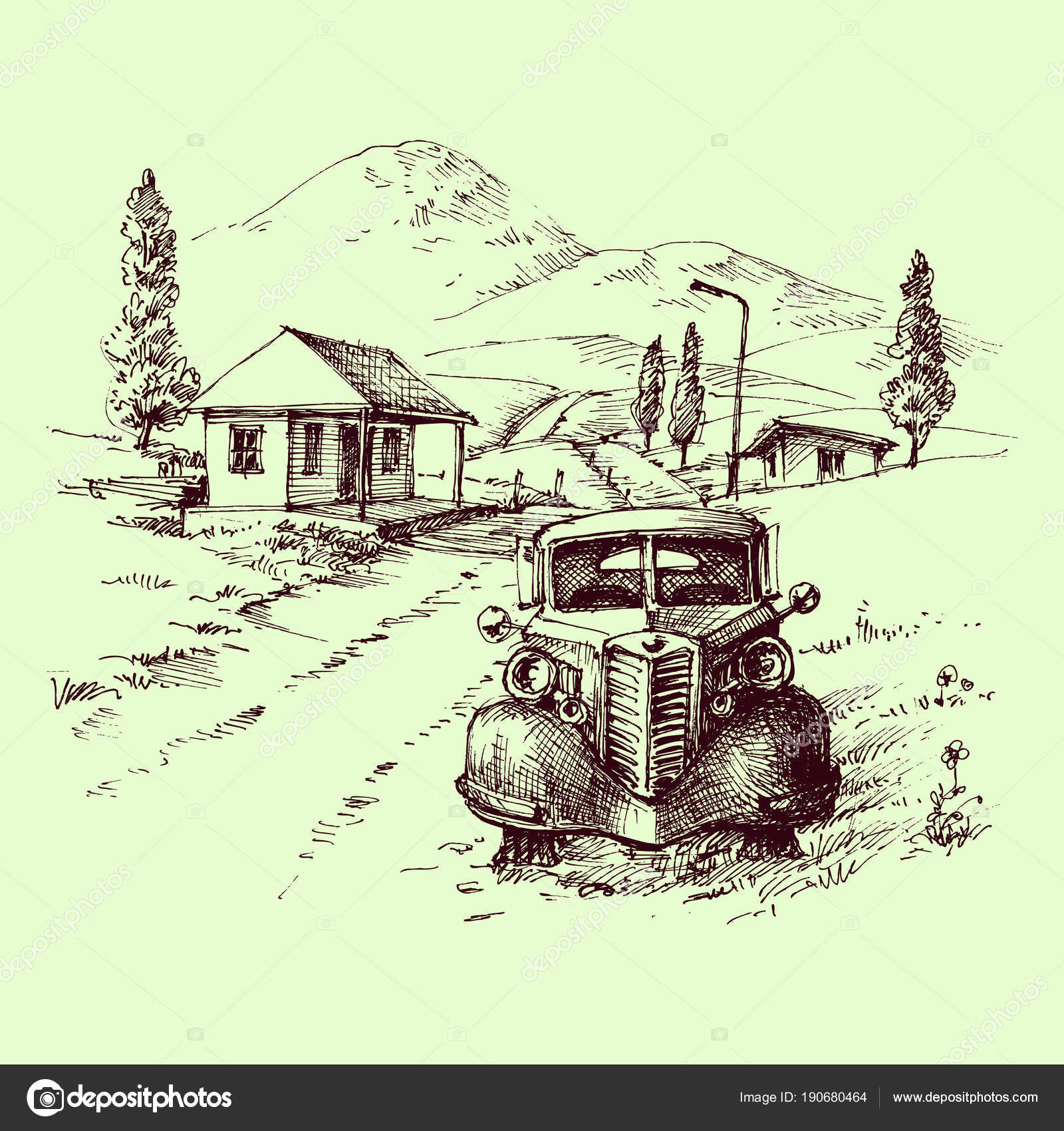 Retro car front view scene. Parked automobile, road and village ...