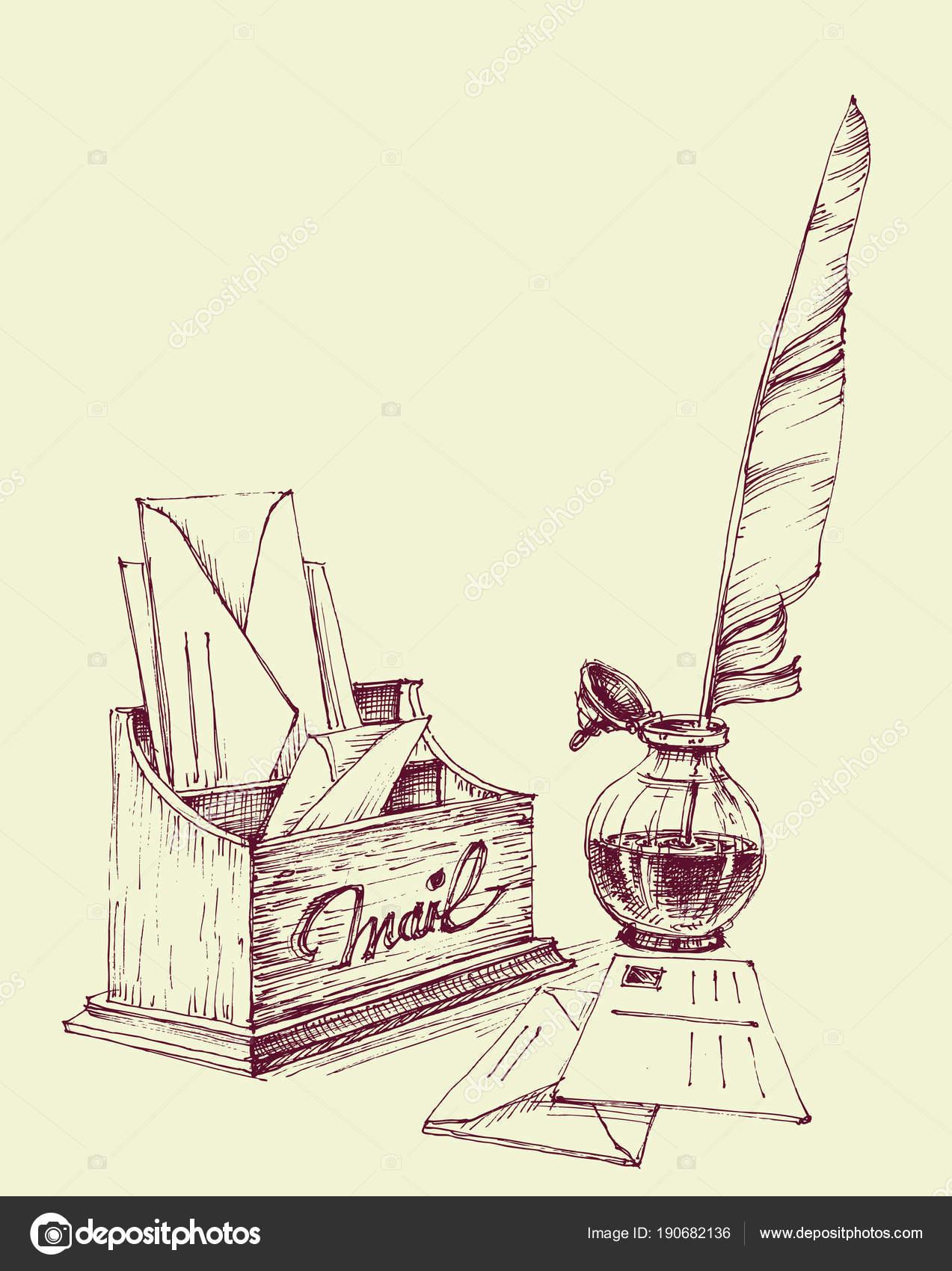 Cartas viejas, bote de tinta y pluma pen diseño vintage — Archivo ...
