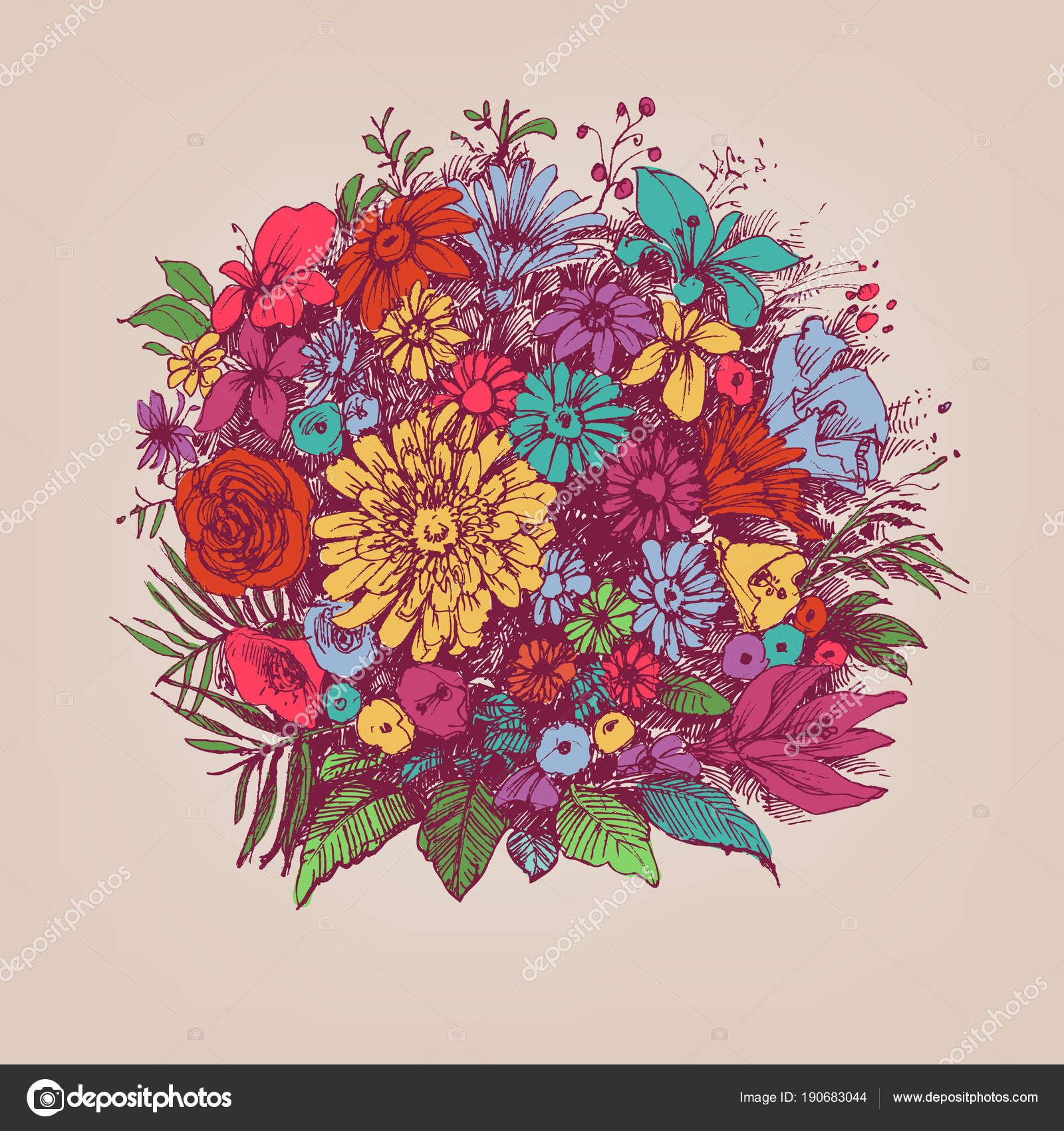 Ramo floral. Arreglo floral redondo o marco floral — Archivo ...
