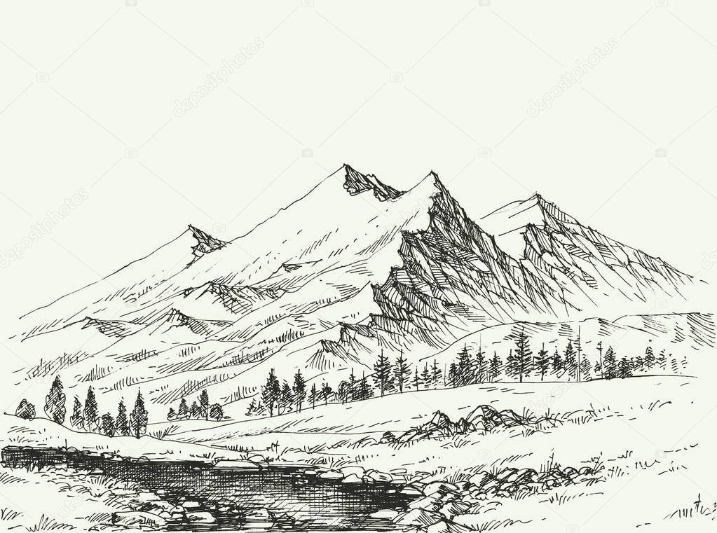 Croquis de paysage de montagnes image vectorielle danussa 190683048 - Dessin de montagne ...