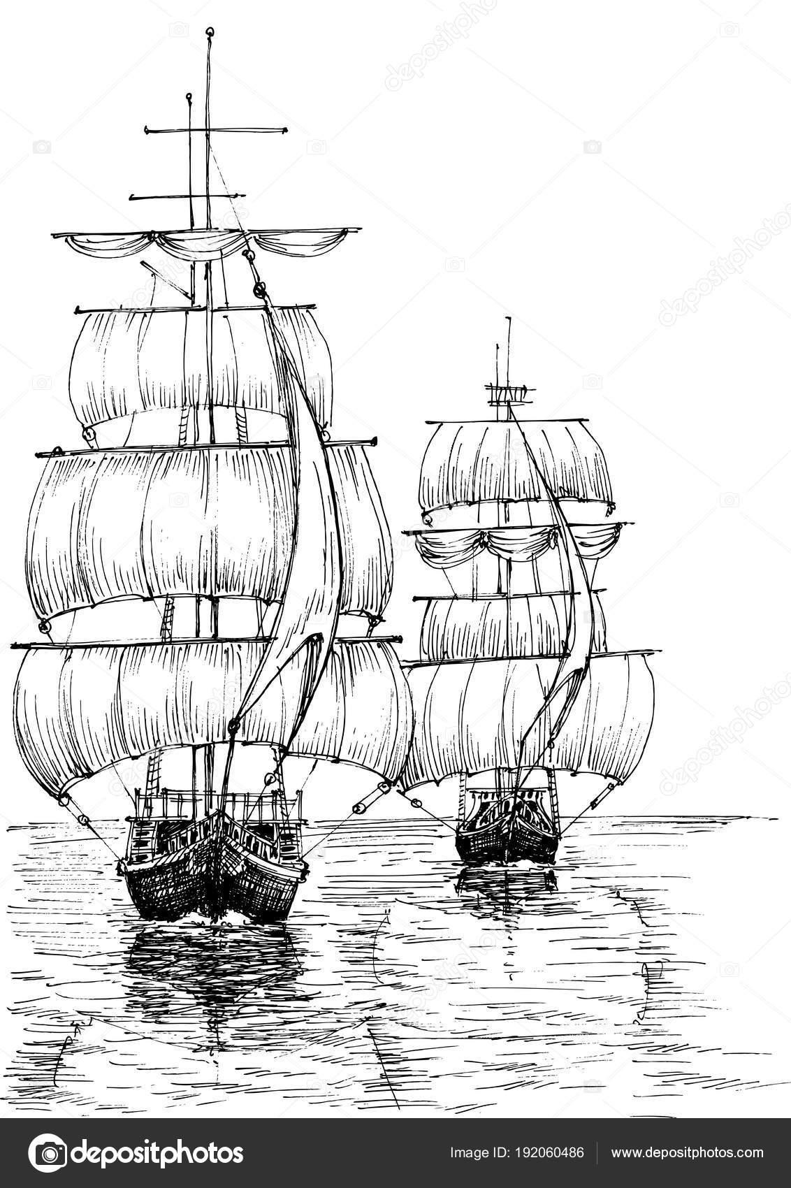 Veleros en bosquejo blanco y negro mar — Vector de stock © Danussa ...