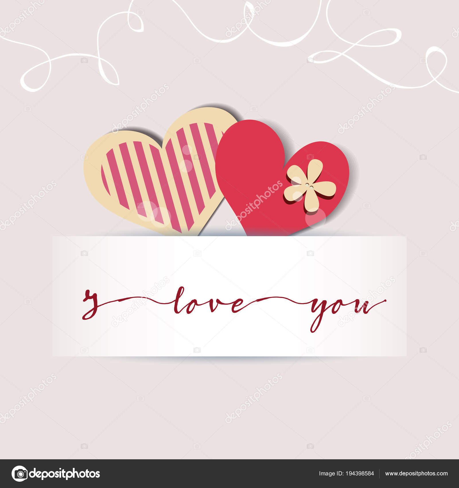 Love Card Cute Hearts And A Text Message Stock Vector Danussa