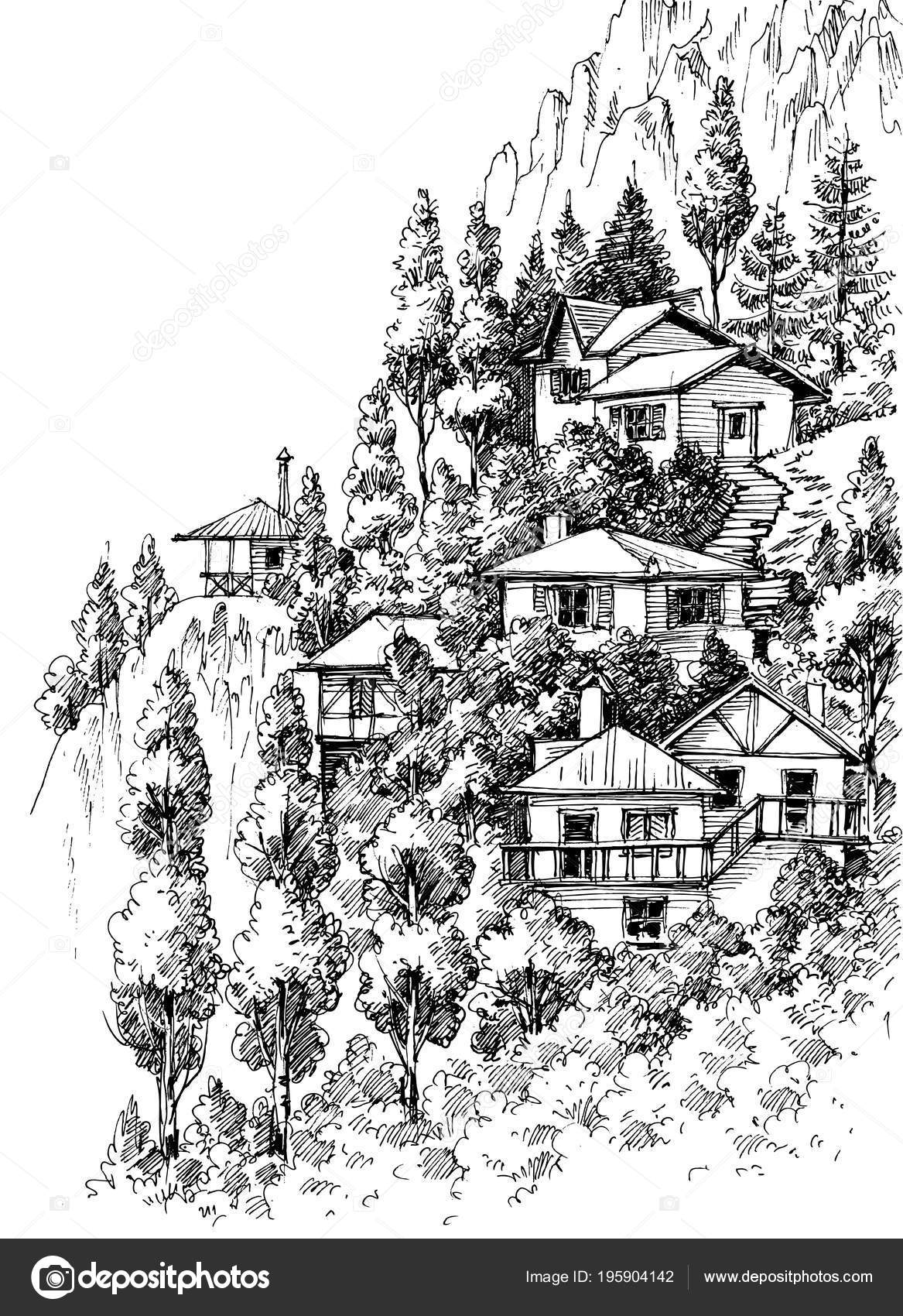 Images mountain village drawing mountain village sketch