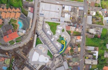 Wide Angle, Aerial Shot of Banos de Agua Santa