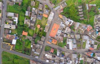 Aerial view of city suburbs In Banos, Ecuador