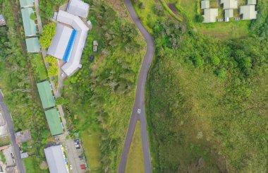 Overall aerial city view of Banos, Ecuador