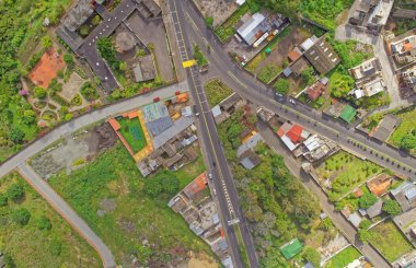 Aerial view of small suburban latin America town