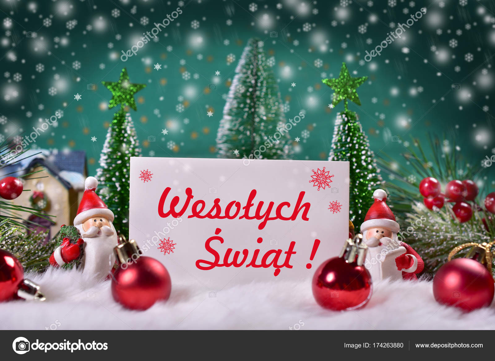 Merry Christmas In Polish.Christmas Greeting Card With Red Text Merry Christmas In
