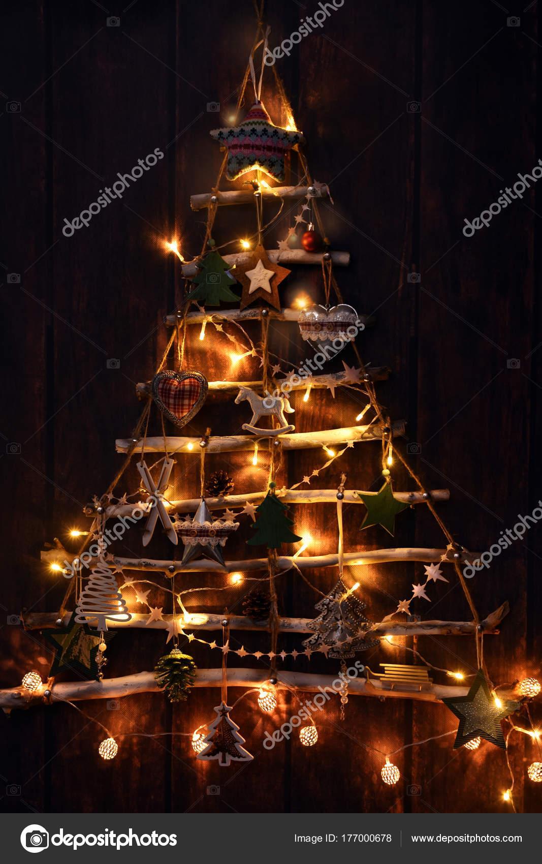 Creative Handmade Christmas Tree Illuminated In The Dark Stock Photo