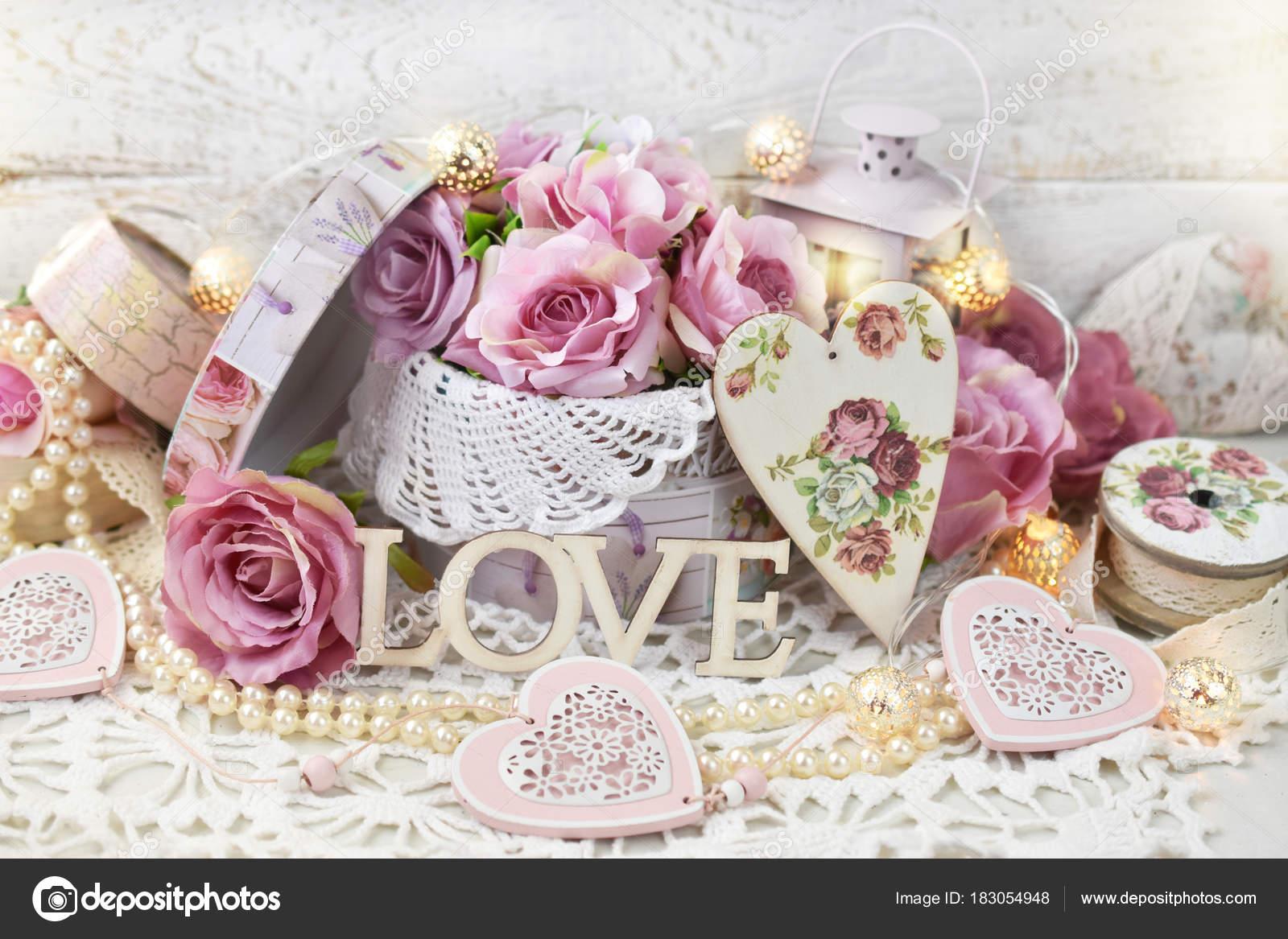 Romantische Liebe Dekoration Im Shabby Chic Stil Fur Hochzeit Oder