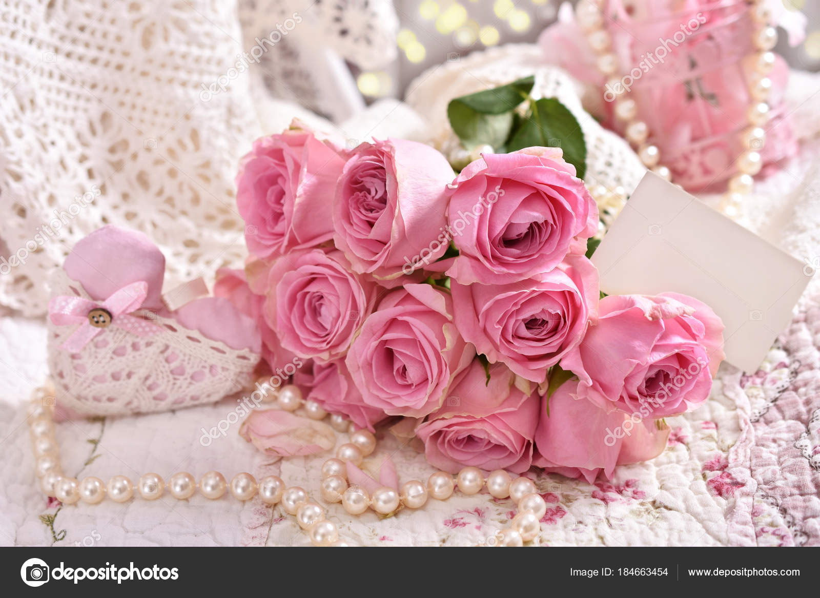Bunch Of Pink Roses With Blank Card Stock Photo Teresaterra