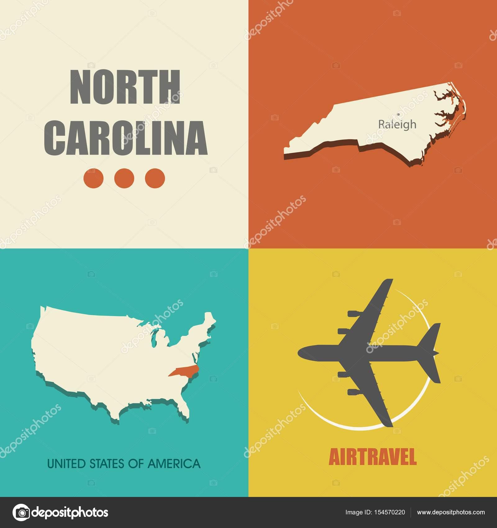 North Carolina map flat
