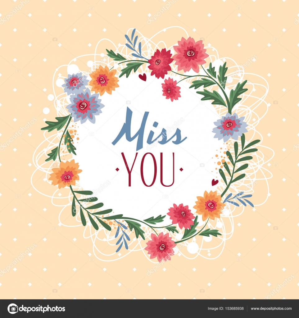 Miss U Gift Card Stockvector Selenamay 153685938