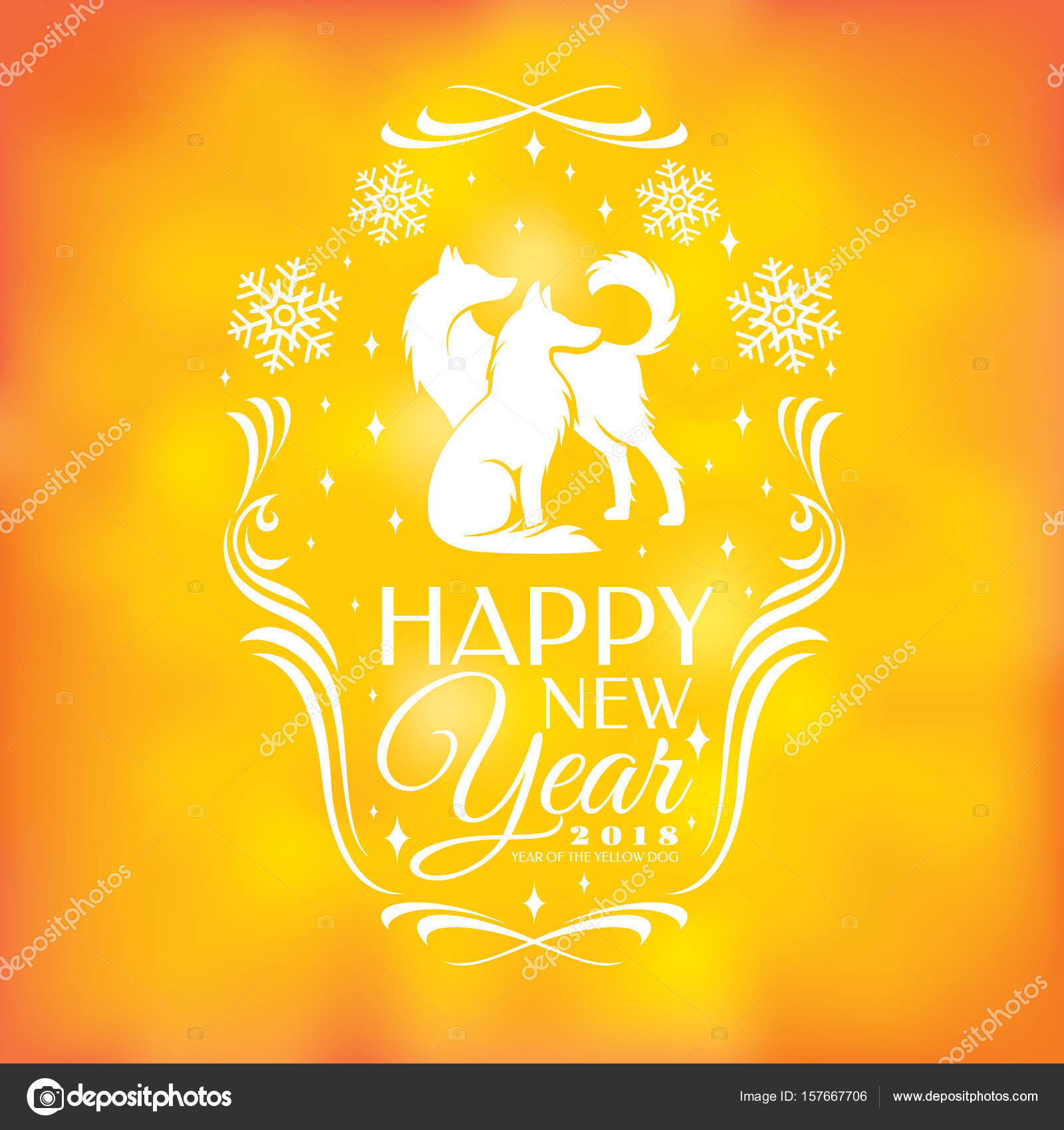 Chinese new year greeting card 2018 year stock vector selenamay chinese new year greeting card 2018 year of the yellow dog vector illustration vector by selenamay m4hsunfo