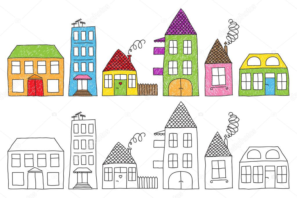 casas infantis de desenho vetor de stock zsooofija 130490546