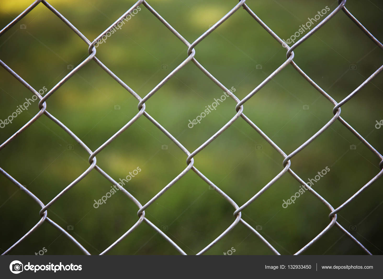 schöne Maschendrahtzaun vor grünen Rasen — Stockfoto © graphicphoto ...
