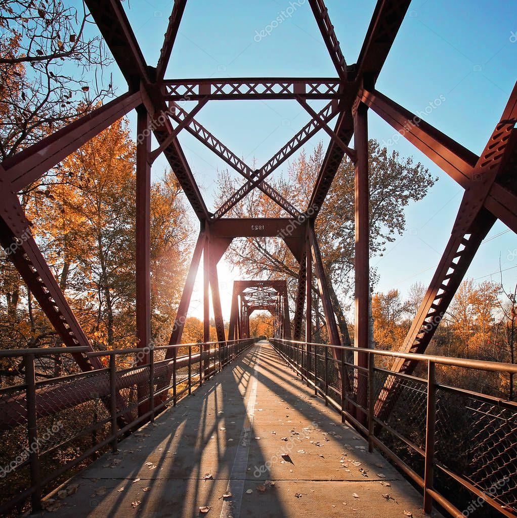 an old antique train trestle bridge