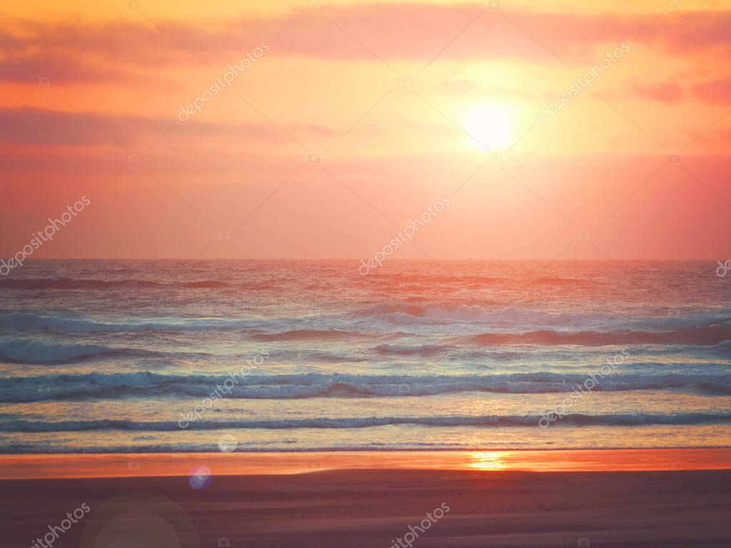 Bright sunset over ocean