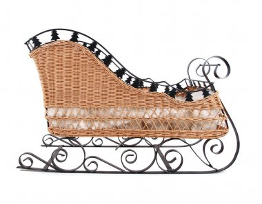 Christmas sleigh made of wicker and metal isolated on white background stock vector