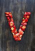 Fotografia Frutta e verdura in lettera alfabeto