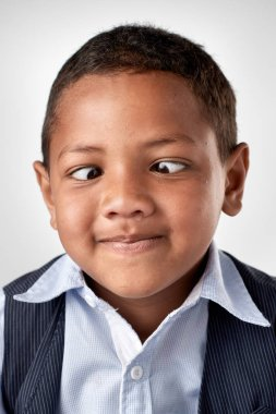African boy making silly expression face