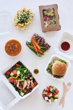 takeaway food on table