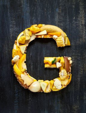 Vegetables and fruits in alphabet letter